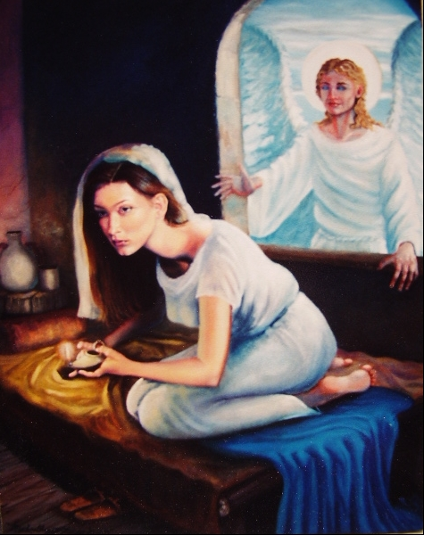 """""""the Annunciation"""" Oil  from Luke II 26:38"""
